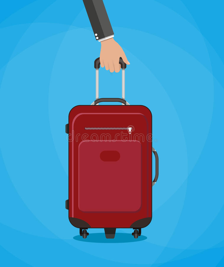 Red travel bag with hand royalty free illustration
