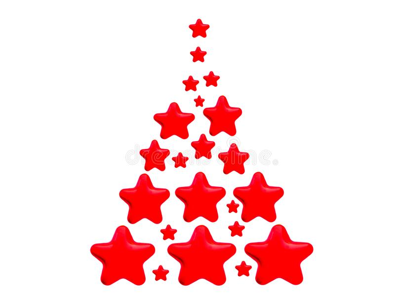 Red Tree Stars. An object for Christmas or New Year decorative design. The object is isolated on white background royalty free illustration