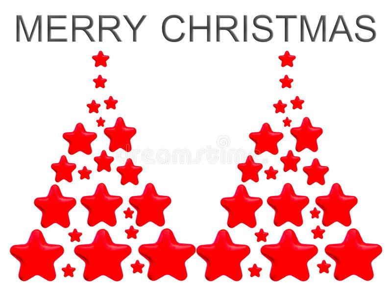 Red Tree Stars. An object for Christmas or New Year decorative design. The object is on white background vector illustration