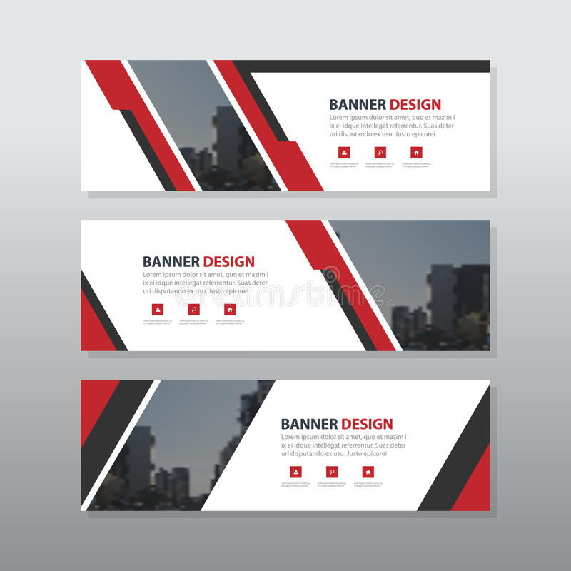 Red triangle abstract corporate business banner template stock illustration