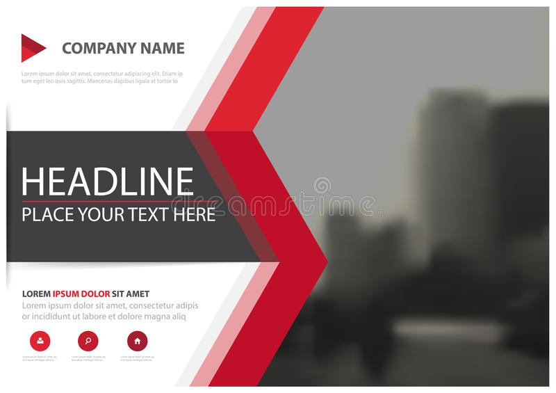 Red triangle business brochure flyer cover vector design, Leaflet advertising abstract background, Modern poster magazine layout stock illustration