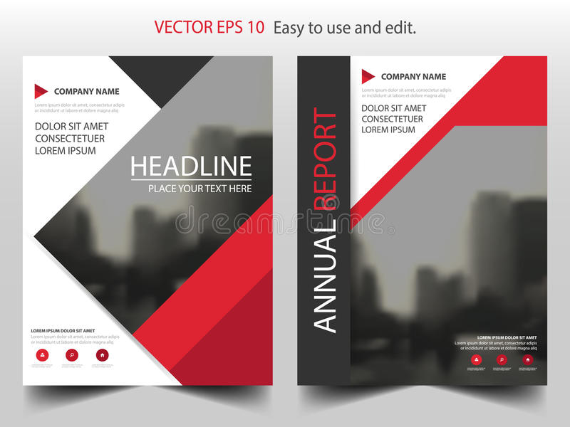 Red triangle business Brochure Leaflet Flyer annual report template design, book cover layout design, abstract presentation. Red triangle business Brochure royalty free illustration
