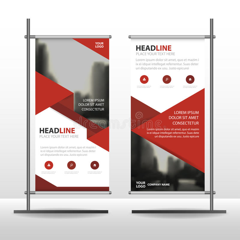 Red triangle Business Roll Up Banner flat design template ,Abstract Geometric banner template Vector illustration set. Abstract presentation brochure flyer stock illustration