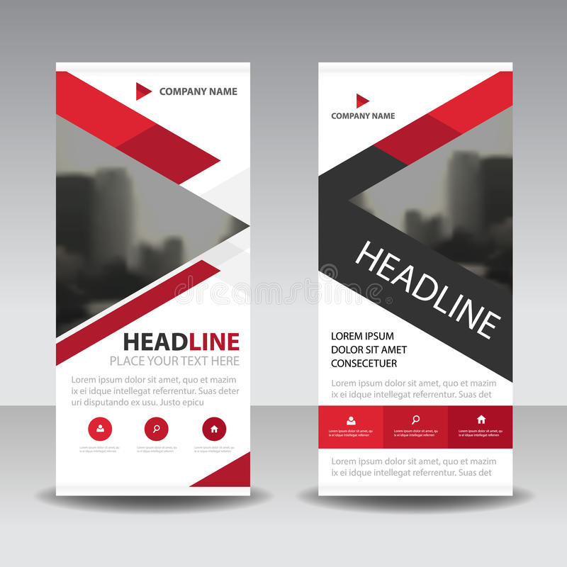 Red triangle Business Roll Up Banner flat design template ,Abstract Geometric banner template Vector illustration set,. Abstract presentation brochure flyer vector illustration