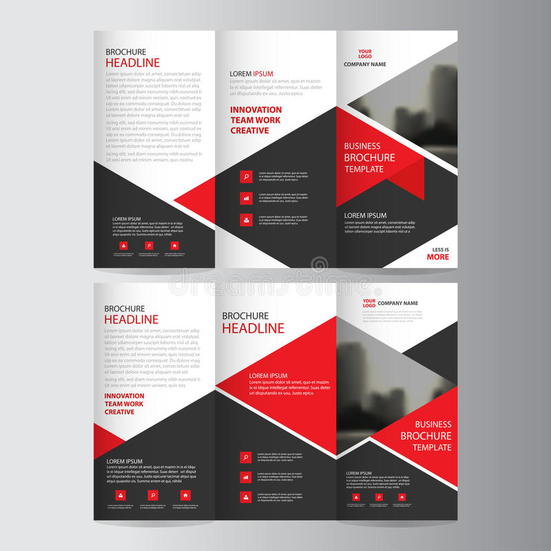 Red triangle business trifold Leaflet Brochure Flyer report temp vector illustration