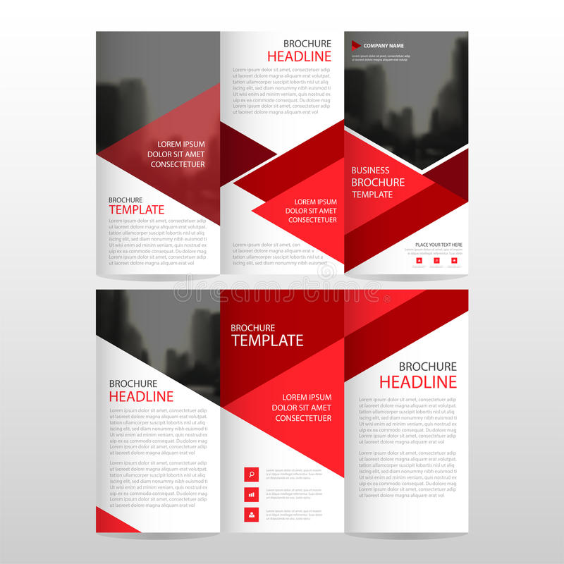 Red triangle business trifold Leaflet Brochure Flyer report template vector minimal flat design set, abstract three fold. Presentation layout templates a4 size stock illustration