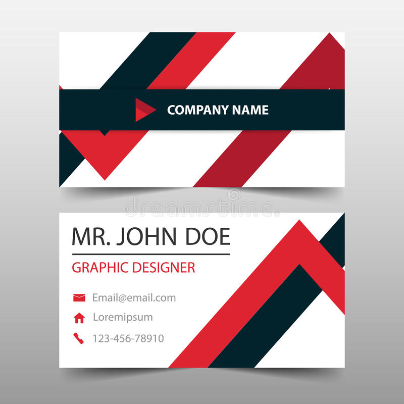 Red triangle corporate business card, name card template ,horizontal simple clean layout design template , Business banner. Template for website royalty free illustration