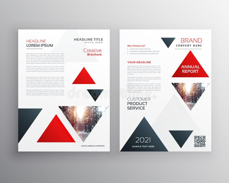 red triangle modern business brochure flyer poster design template in size A4 vector illustration