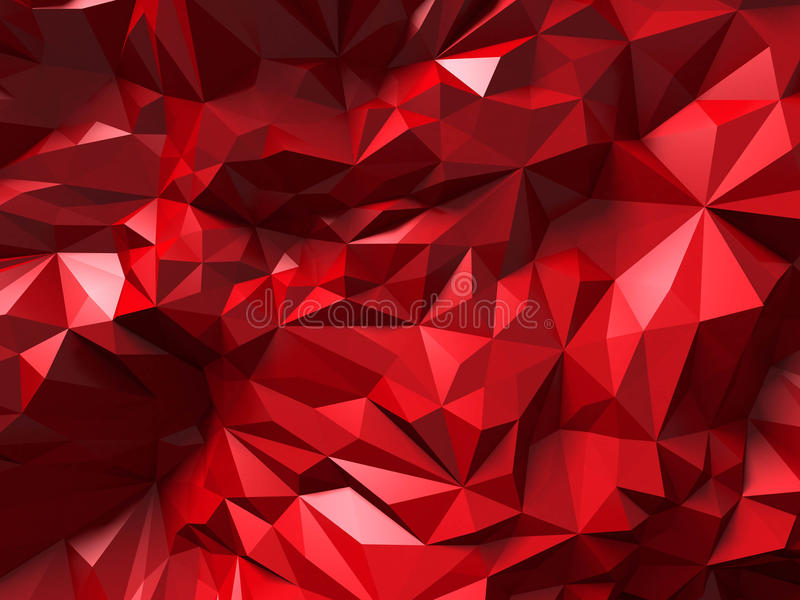 Red triangle poligon chaotic pattern wall background. 3d render illustration stock photos