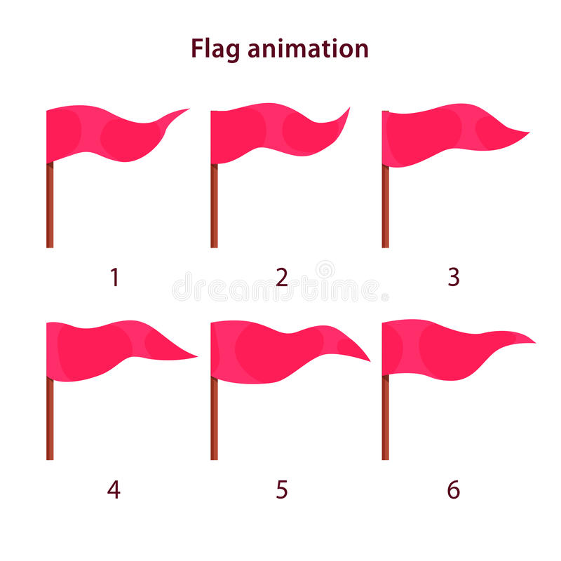 Red triangle shape flag waving animation sprites royalty free illustration