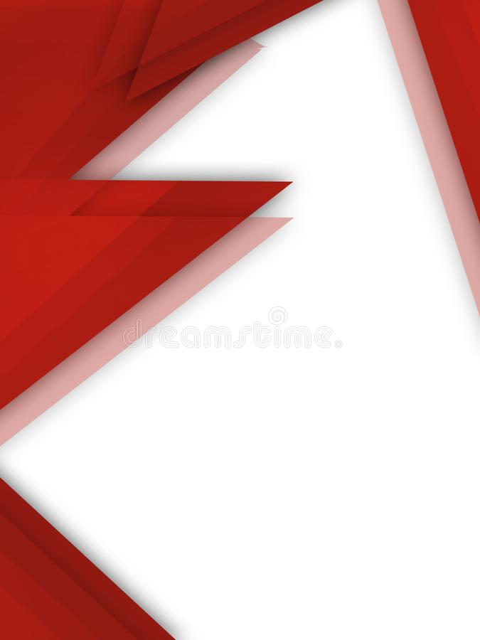 Red triangles overlap left side abstract background. Vertical creative background stock illustration