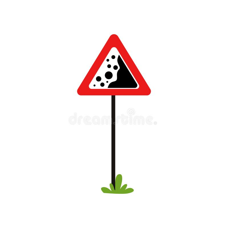 Red triangular warning sign falling stones. Dangerous road section. Flat vector element for book of traffic rules royalty free illustration