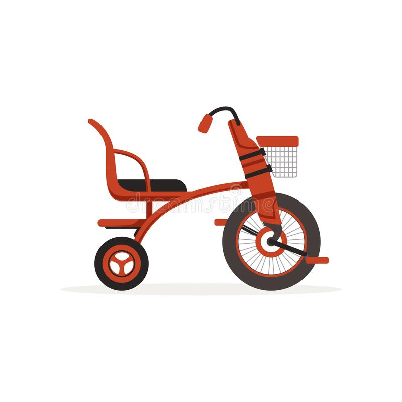Red tricycle for children, kids bicycle vector Illustration vector illustration