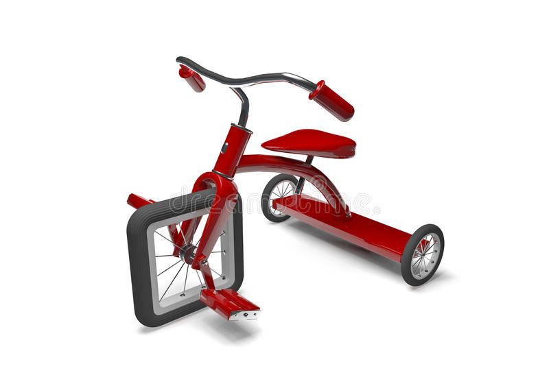 Red tricycle with design flaw vector illustration