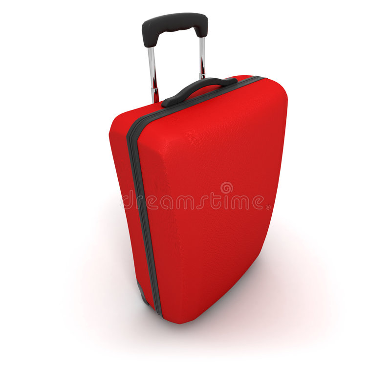 Red Trolley Suitcase Stock Photos