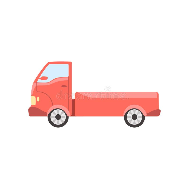Red truck, delivery cargo lorry vector Illustration. Isolated on a white background royalty free illustration