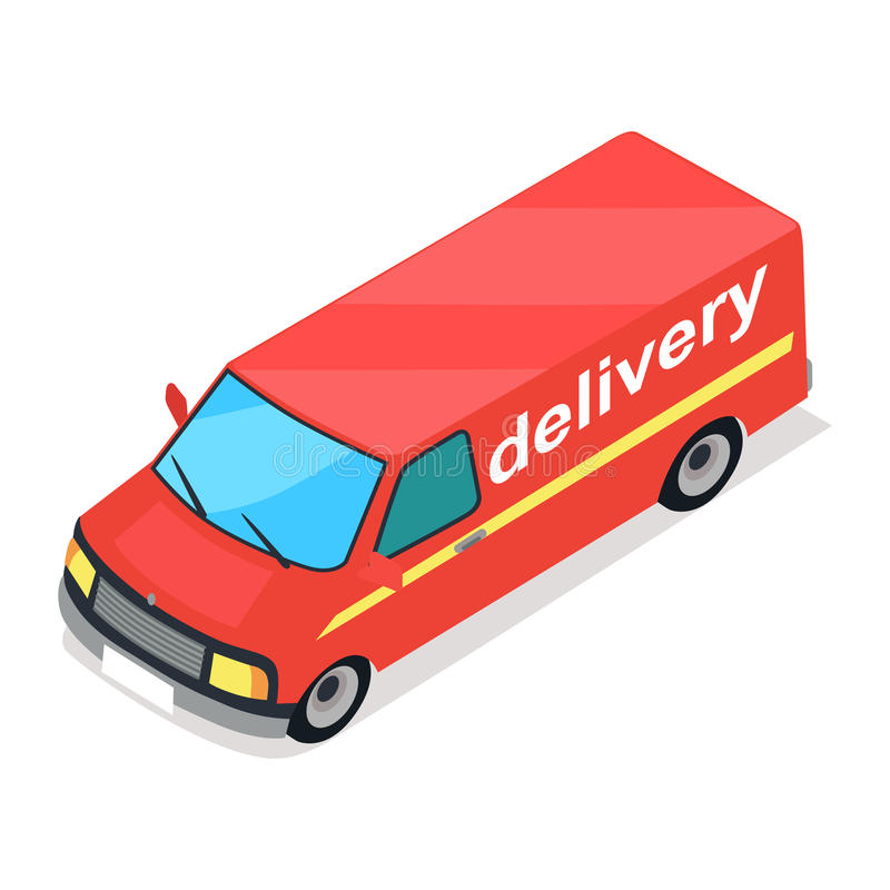 Red Truck of Delivery Cartoon Style Flat Design stock illustration