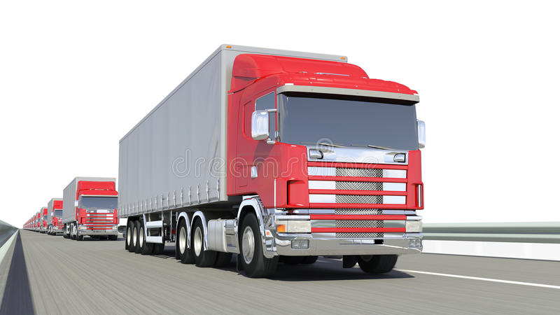 Red truck on road. Isolated white stock illustration