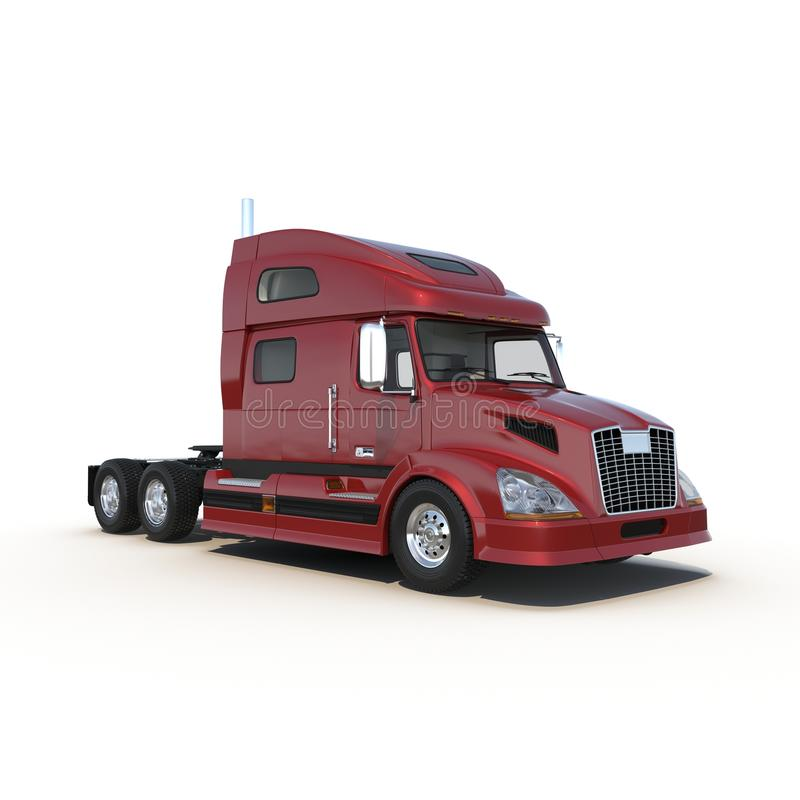 Red truck without a trailer on white 3D Illustration stock illustration