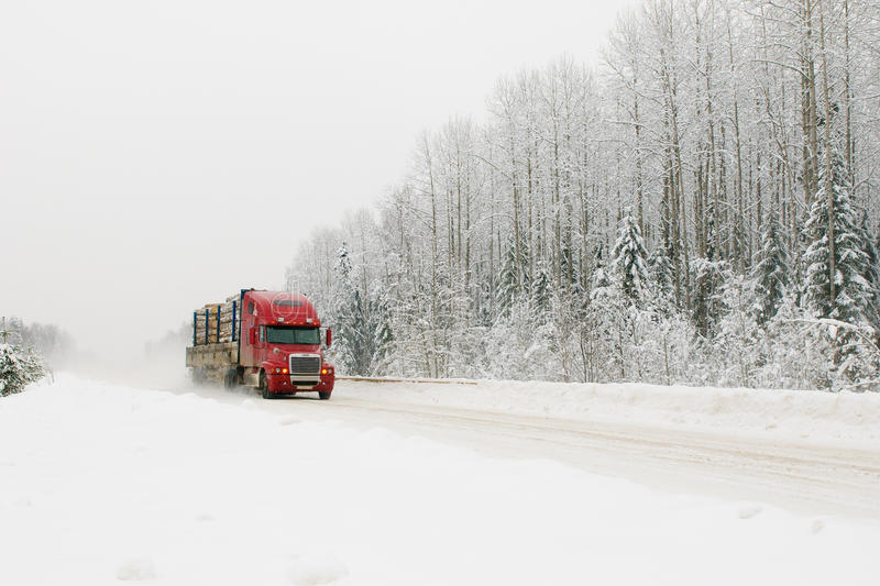 Download Red truck on winter road stock photo. Image of traffic - 11537802