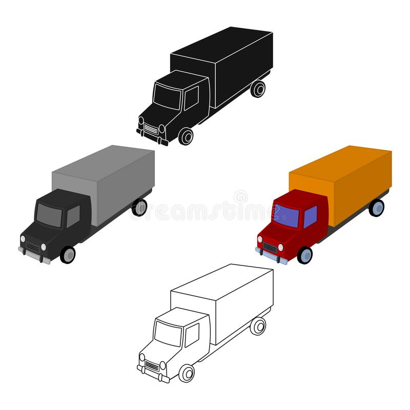 Red truck with a yellow body. The car for cargo transportation.Transport single icon in cartoon,black style vector. Symbol stock web illustration royalty free illustration