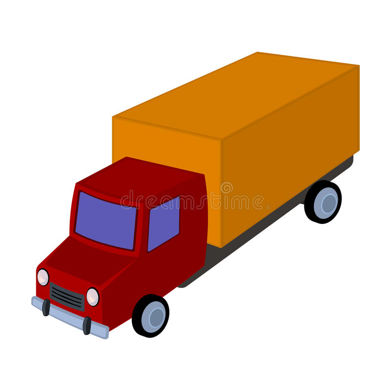 Red truck with a yellow body. The car for cargo transportation.Transport single icon in cartoon style vector symbol vector illustration