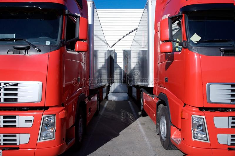 Red Trucks At Warehouse Royalty Free Stock Images
