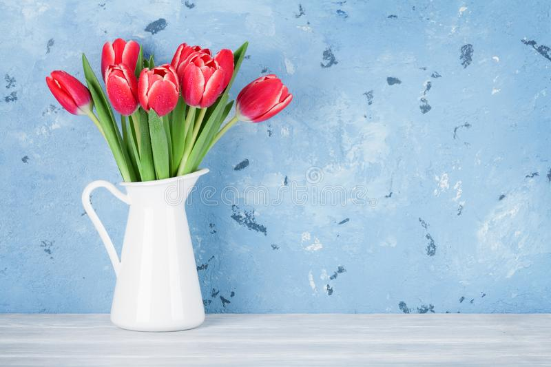 Red tulip flowers bouquet stock images