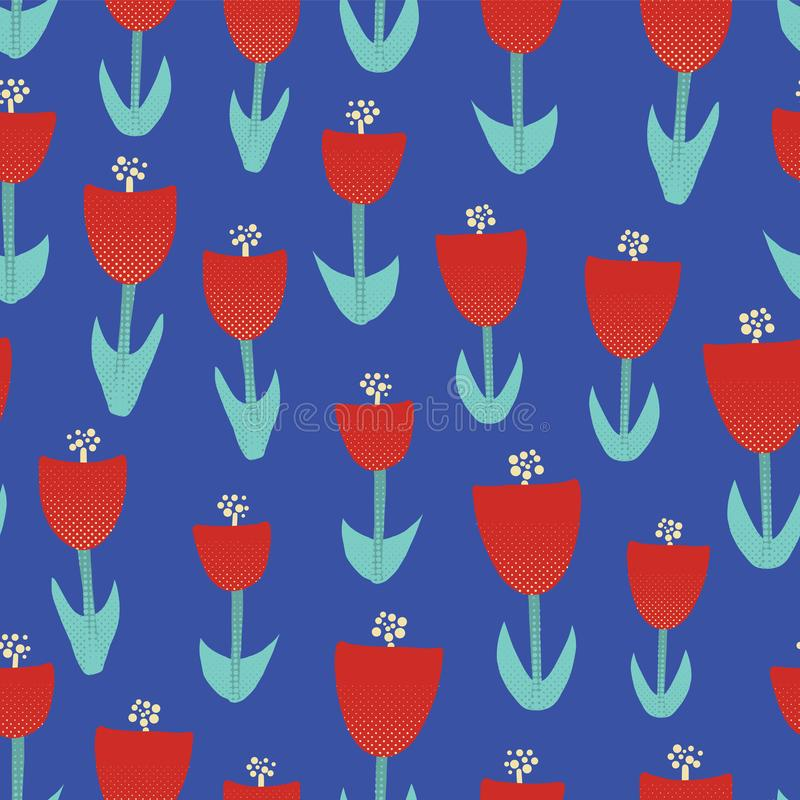 Red tulip flowers illustration seamless vector background Abstract floral motif for surface design. Retro spring pattern with royalty free illustration