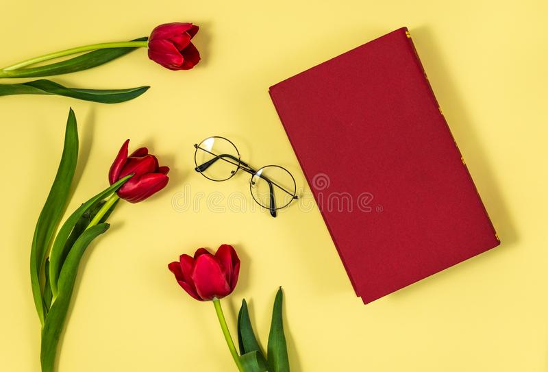 Red tulips with red book. Red tulips with wooden red book on yellow background with red book stock photo
