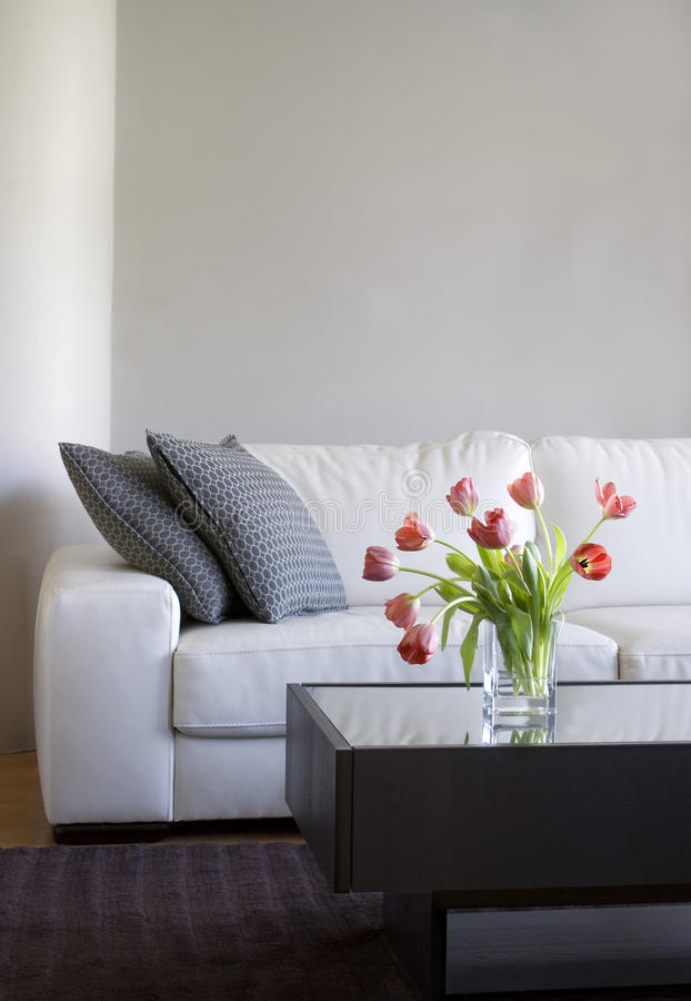 Red Tulips In Modern Living Room