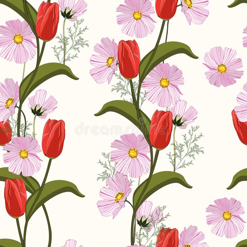 Red tulips and pink spring flowers seamless pattern. Vector illustration. royalty free illustration