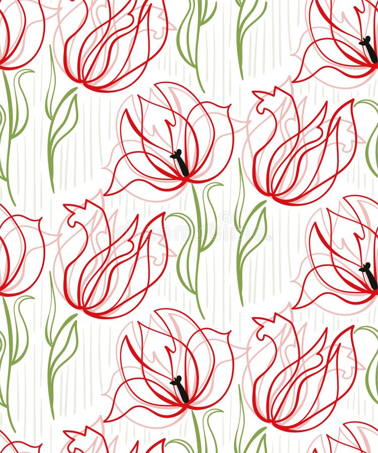 Red tulips seamless pattern vector floral design primitive scandinavian stock illustration