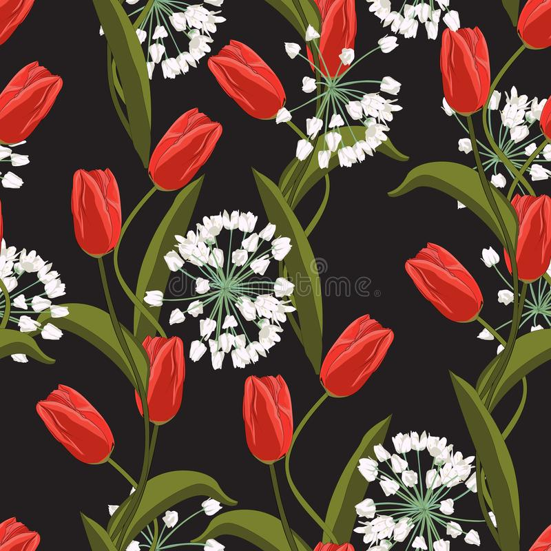 Red tulips and white spring flowers seamless pattern. Vector illustration. stock illustration