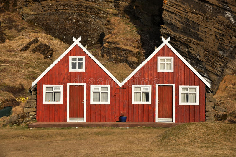 Download Red Turf Covered Double House, Iceland Stock Photo - Image: 19109260