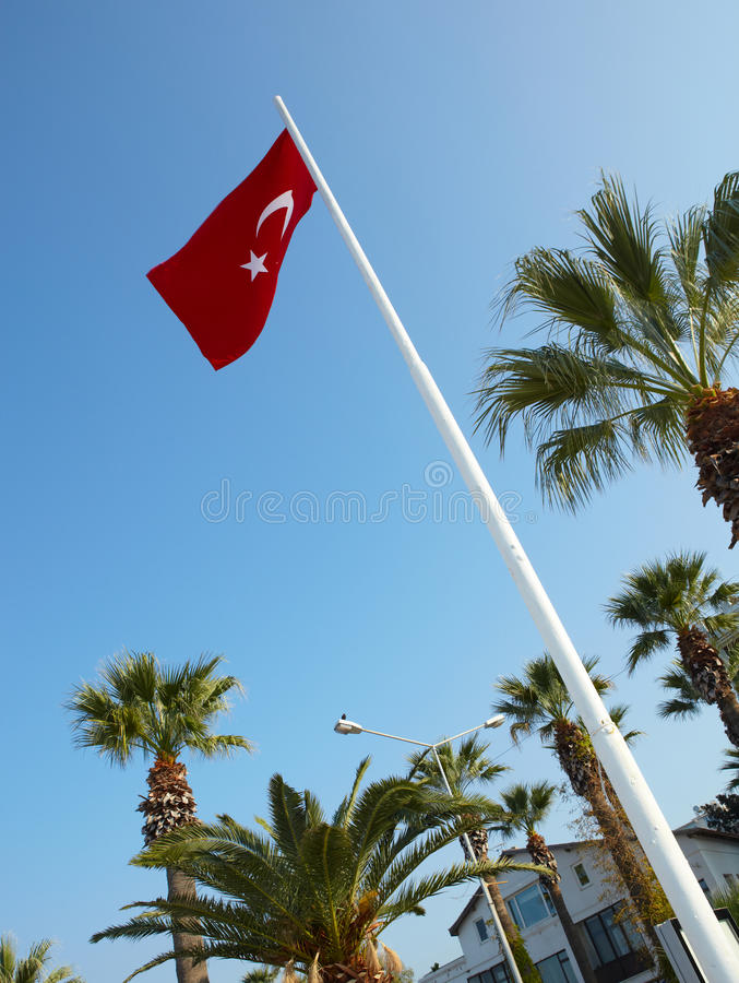 Red Turkish flags. Blowing in the wind on a clear blue sky day royalty free stock photo