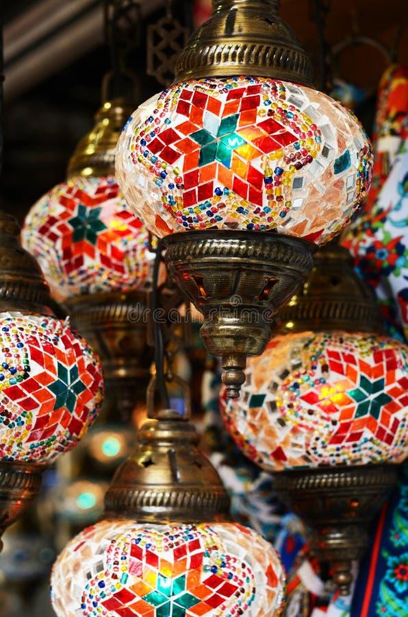 Red turkish mosaic lanterns. Traditional turkish mosaic lanterns in red color at bazaar in Istanbul stock photo