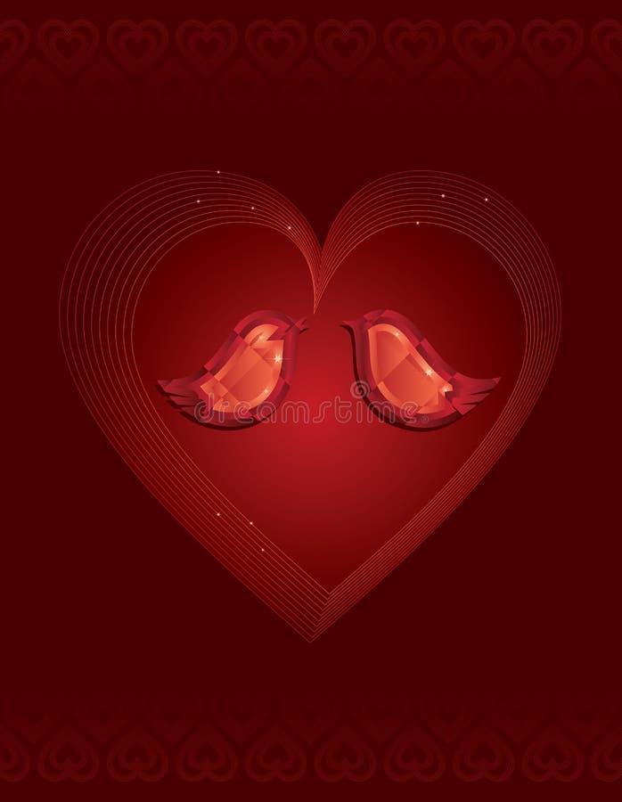 red två för fågeldiamantförälskelse stock illustrationer