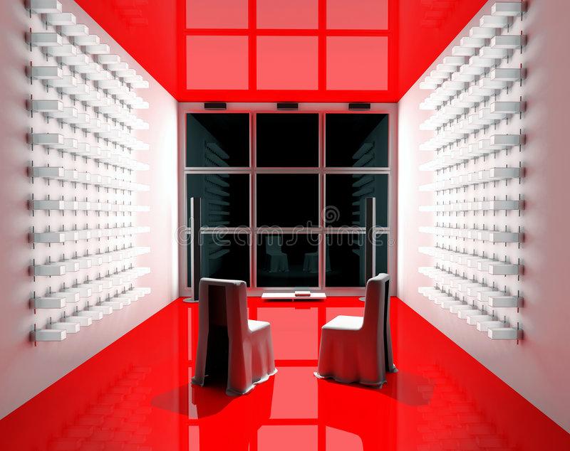 Red Tv room stock image