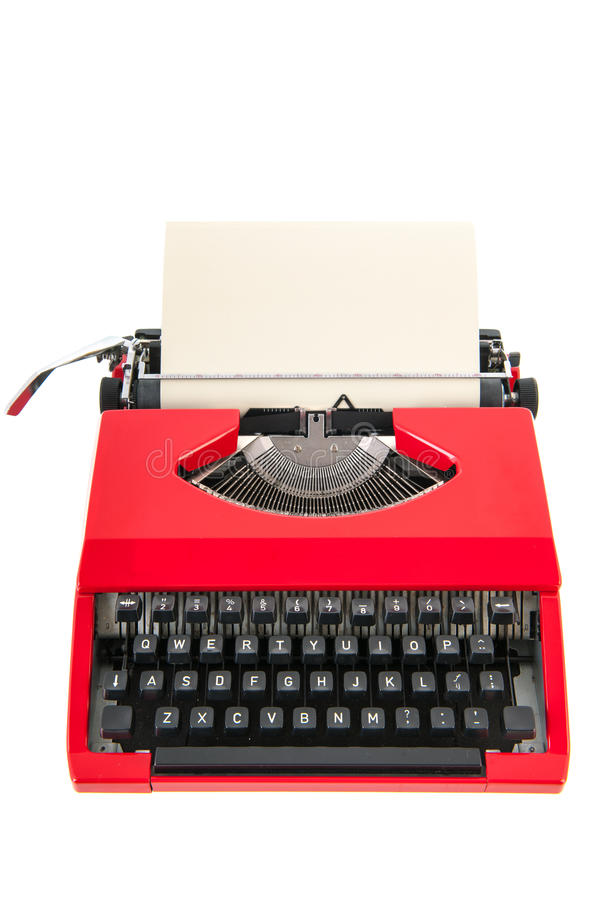Red typewriter with blank paper. Vintage red typewriter with blank paper isolated over white background royalty free stock image