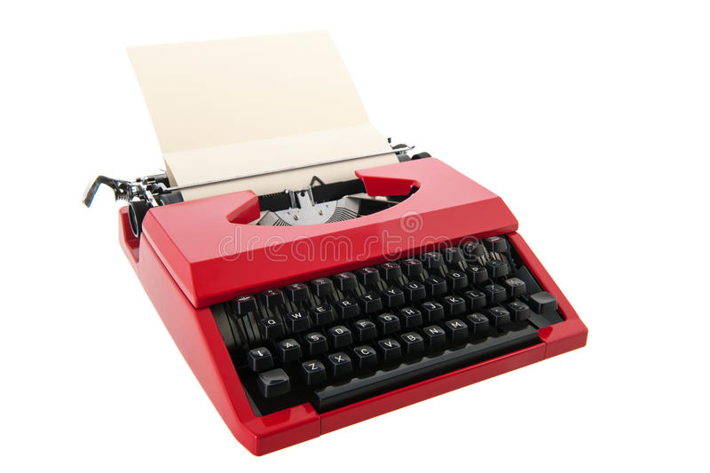 Red typewriter with blank paper. Vintage red typewriter with blank paper isolated over white background stock photography
