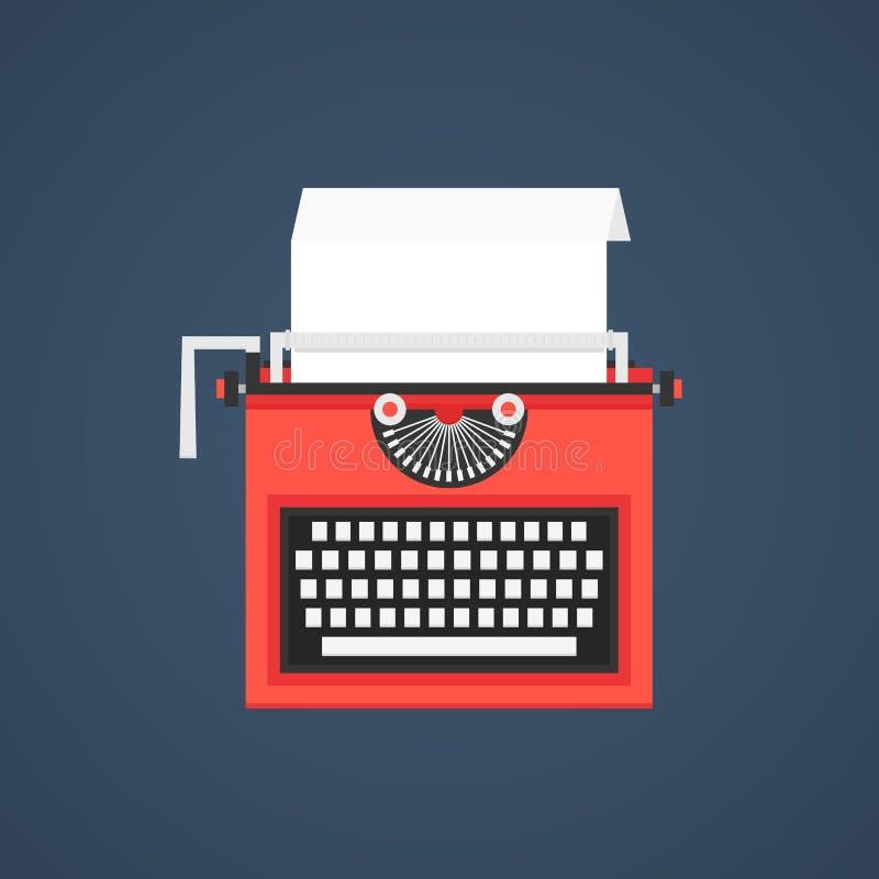 Red typewriter isolated on dark blue background vector illustration