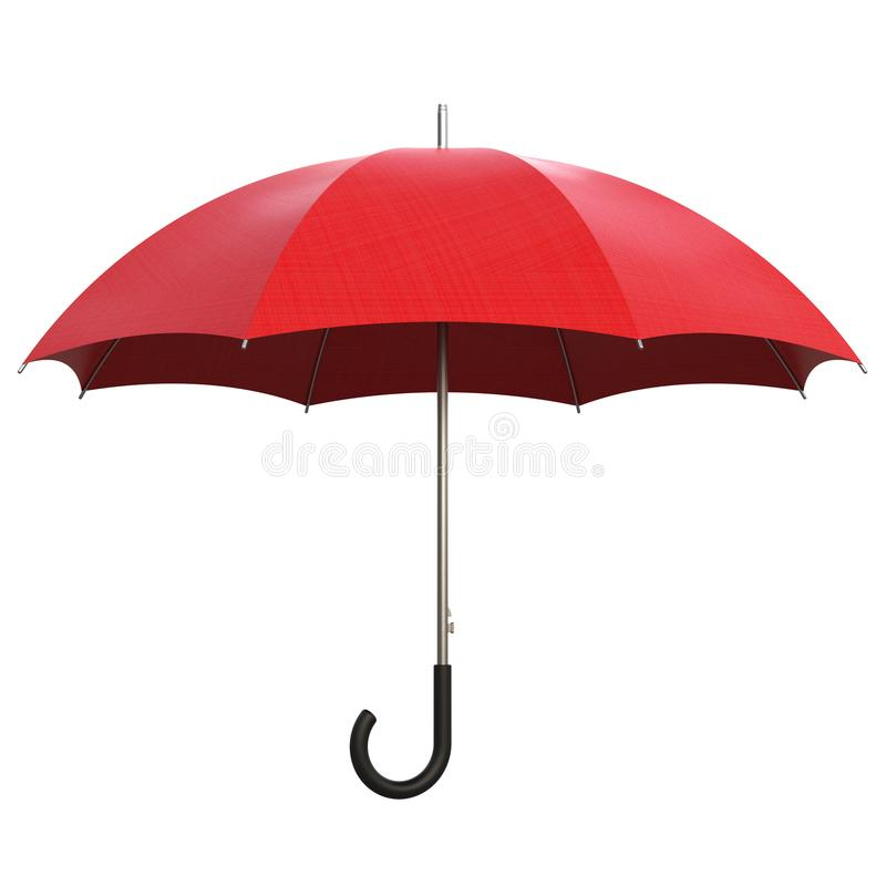 Rainy weather on white. Red umbrella isolated on white background 3D rendering royalty free illustration