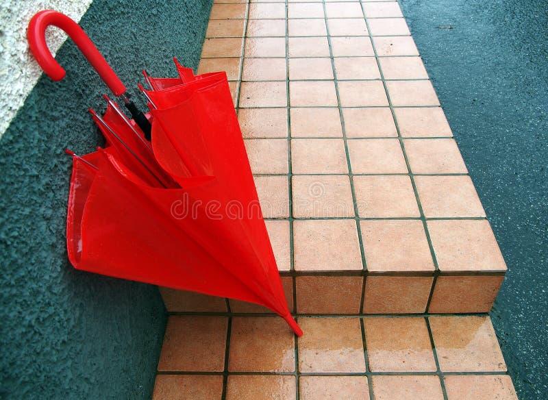 Red Umbrella In The Rain Stock Images