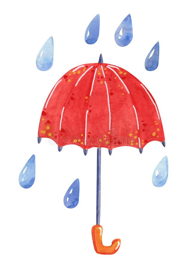 Red umbrella and rain, hand drawn watercolor illustration stock photography