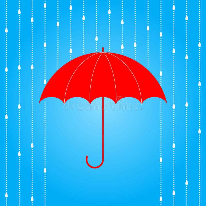 Red umbrella and rain. stock illustration