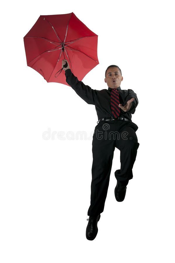 Download Red Umbrella, Red Tie, And Flying Man Stock Photo - Image: 16436242