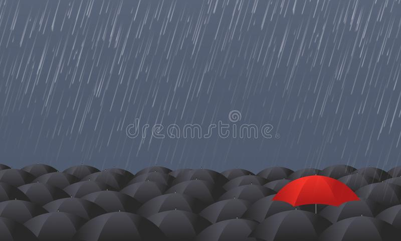 Red umbrella stand out from the grey crowd vector illustration