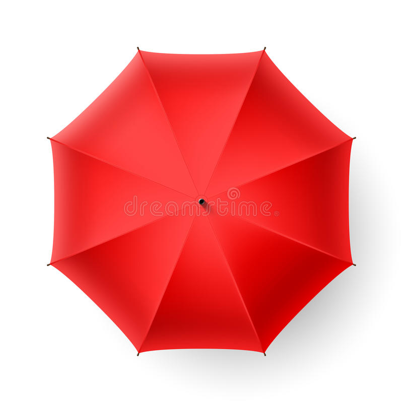 Red umbrella. Top view illustration royalty free illustration