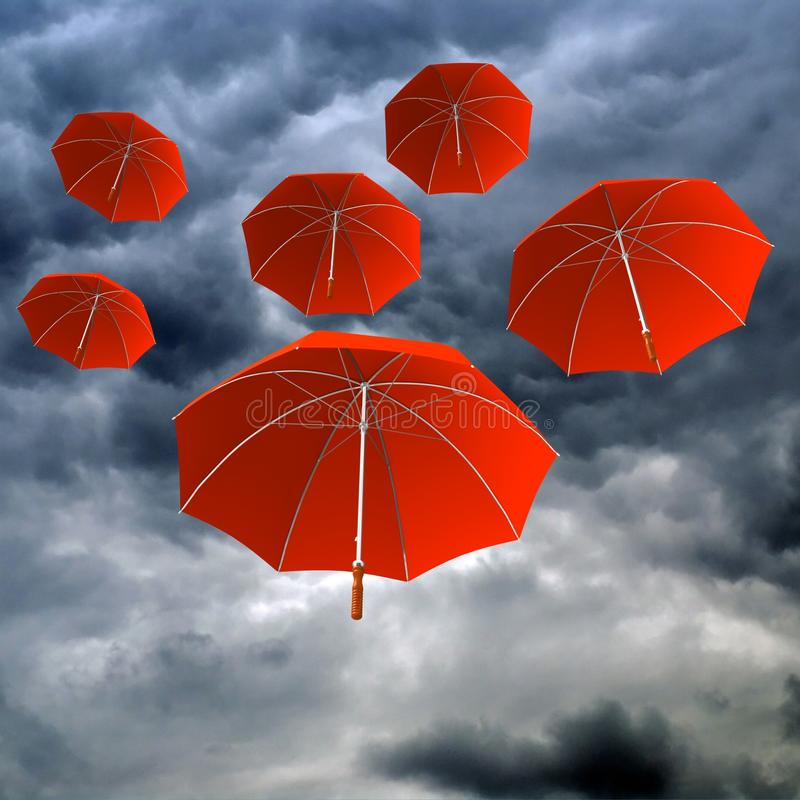 Red umbrellas in the cloudy day royalty free stock photography